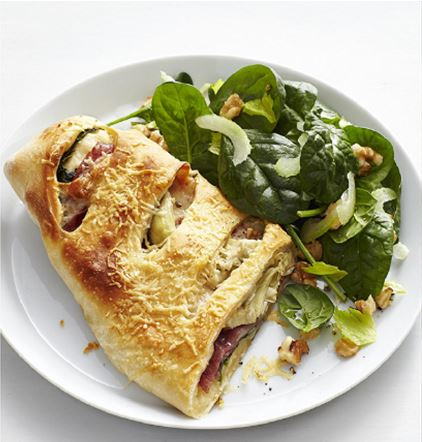 Artichoke-Salami Stromboli and Spinach Salad | dianemdaugherty